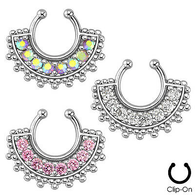Fake Septum Clicker Tribal Fan Clip On Non Piercing Nose Ring Hoop Cartilage