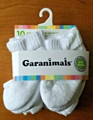 10 Pair Toddlers Boys Solid color Ankle Socks size 18-36 Months Garanimals New