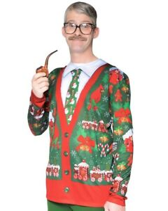 Christmas Ugly Sweater.Details About Large Faux Real Costume Xmas Christmas Ugly Cardigan Jumper Top Tie Funny Party