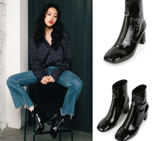 Womens Ankle Boots Patent Leather Zipper Chunky Pointed Toe Slim Shoes Retro B38