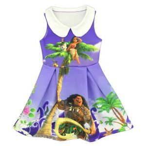 Clothing, Shoes & Accessories Lovely Girls Kids Moana Sleeveless Party Holiday Birthday Dress B4 Costumes