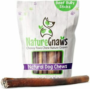 Nature Gnaws Jumbo Bully Sticks for Large Dogs - Premium Natural Beef Bones - -