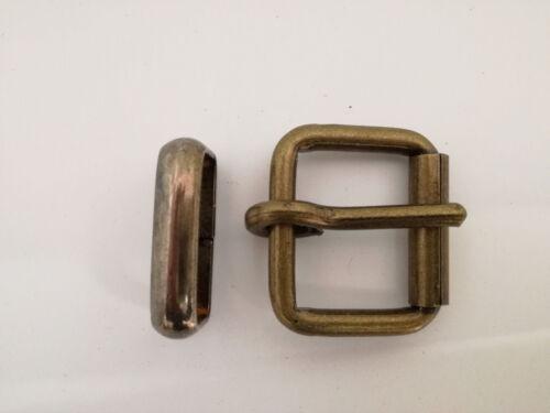1 Stück Roll Gürtelschnalle für 3 cm Riemen Farbe Altmessing u Metallschlaufe