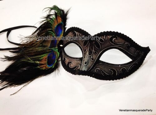 Costume Prom Party Peacock Couple Masquerade Ball Mask Metallic Steampunk Silver