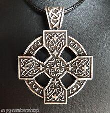 Celtic Cross, Viking Solar Sunwheel Rune Pendant, Black Necklace, USA Seller!