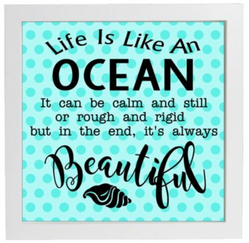 life quote Vinyl Sticker 20cm x 20cm DIY box frame LIFE IS LIKE AN OCEAN