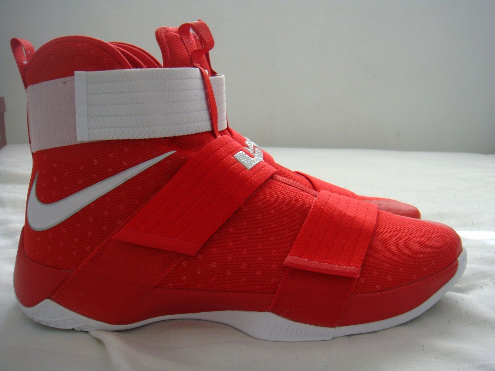 NIKE LEBRON LEBRON NIKE JAMES SOLIDER X 10 ALL RED WHITE SHOES SZ 16 d8fb9b