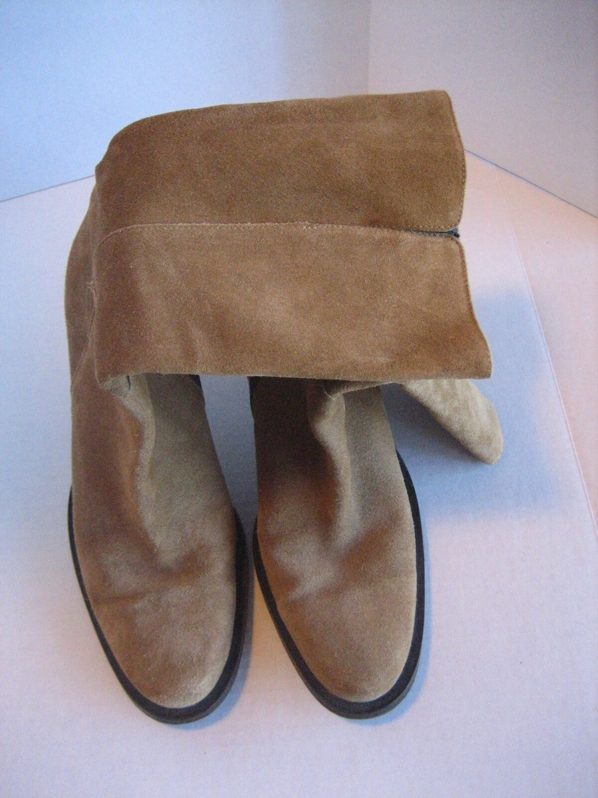 Banana Republic Women's Tan Suede Mid Calif inside Zipper Boots Sz 8 Pre-Owned