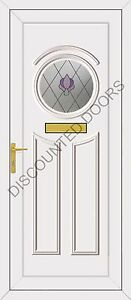 Minova UPVC Front Door, Frame & Letterbox With One Jewel Round Glazed Panel