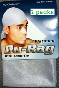 2 packsTHE CHALLENGER PLATINUM SILVER DURAG WITH LONG TIE DURAG FOR MEN CH-100PL