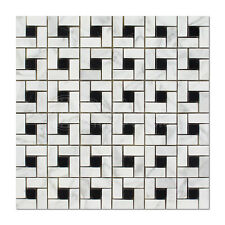 Carrara White Italian Bianco Carrara Marble Basketweave Mosaic Tile