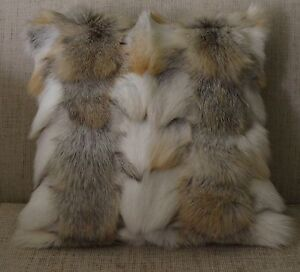 Fox Fur pillow Golden Island Sections Real Genuine made in the USA