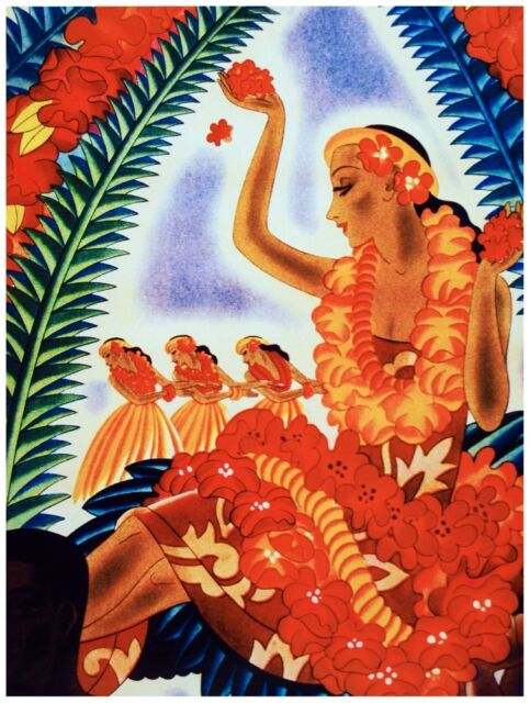 9547.Tropical dressed woman dancing.luau.POSTER.decor Home Office art