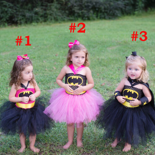 Super Hero Tutu Dress Birthday Party Costume Batman Superman Baby Girl Props