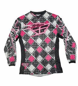 Women's FLY RACING Kinetic Pink Black White Motocross ATV Mesh Jersey (size M)