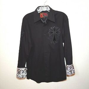 Rebel-Spirit-Black-Men-039-s-Medium-Button-Down-Long-sleeve-Shirt
