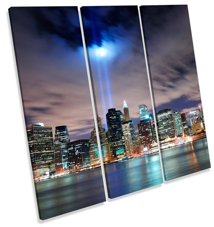 Twin Tower Tribute New York City TREBLE CANVAS WALL ART Square Picture Print