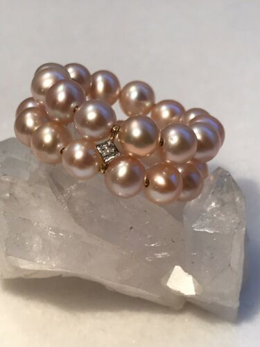 DIAMOND AND 14K YELLOW GOLD RING Details about  /DOUBLE ROW PINK CULTURED PEARL Size 8