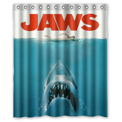 Hot New Jaws Shark Movie Poster Custom Print Polyester Waterproof Shower Curtain