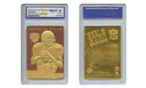 TOM-BRADY-2000-Draft-Pick-FEEL-THE-GAME-NFL-Gold-Card-Rookie-Graded-GEM-MINT-10
