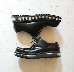 Prada-Men-039-s-Black-Leather-Creepers-with-Transparent-Platform-Lace-Up-Sz-9