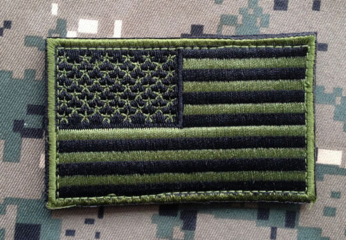 AMERICAN FLAG USA US United States FLAG MORALE EMBROIDERED HOOK PATCH GREEN