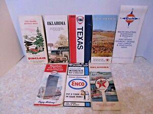 Vintage-Road-Maps-Lot-of-8-Gas-Station-Maps-TX-OK-NM-Texaco-Gulf-Enco-Sinclair