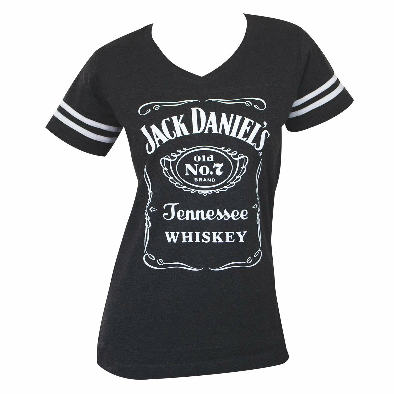 Jack Daniels Striped Soccer Ladies Tee Shirt grau