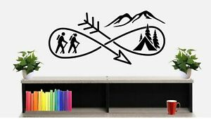 Hiking Camping Tent Infinity Adventure Wall Decal BG 491 Hike Hiker Camp Camper