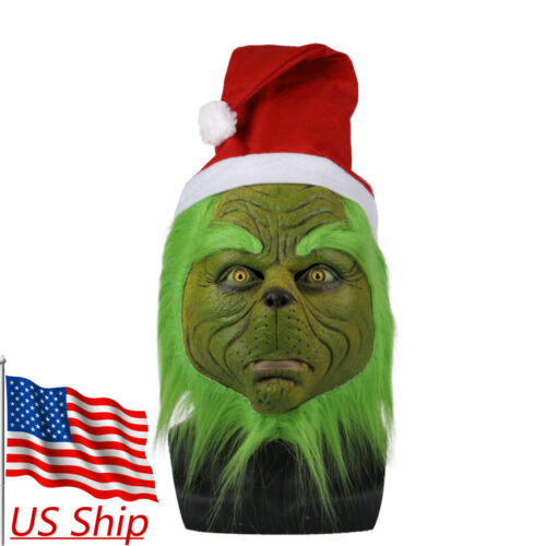 2018 Grinch Mask How the Grinch Stole Christmas Mask Full Head Halloween Props