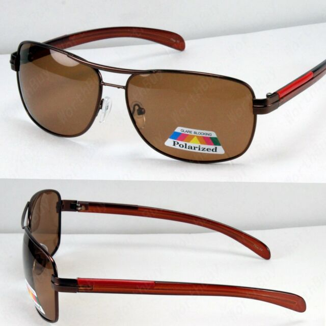 New Mens Dark Brown Polarized Lens Sport Sunglasses Shades Pilot Fishing Driving