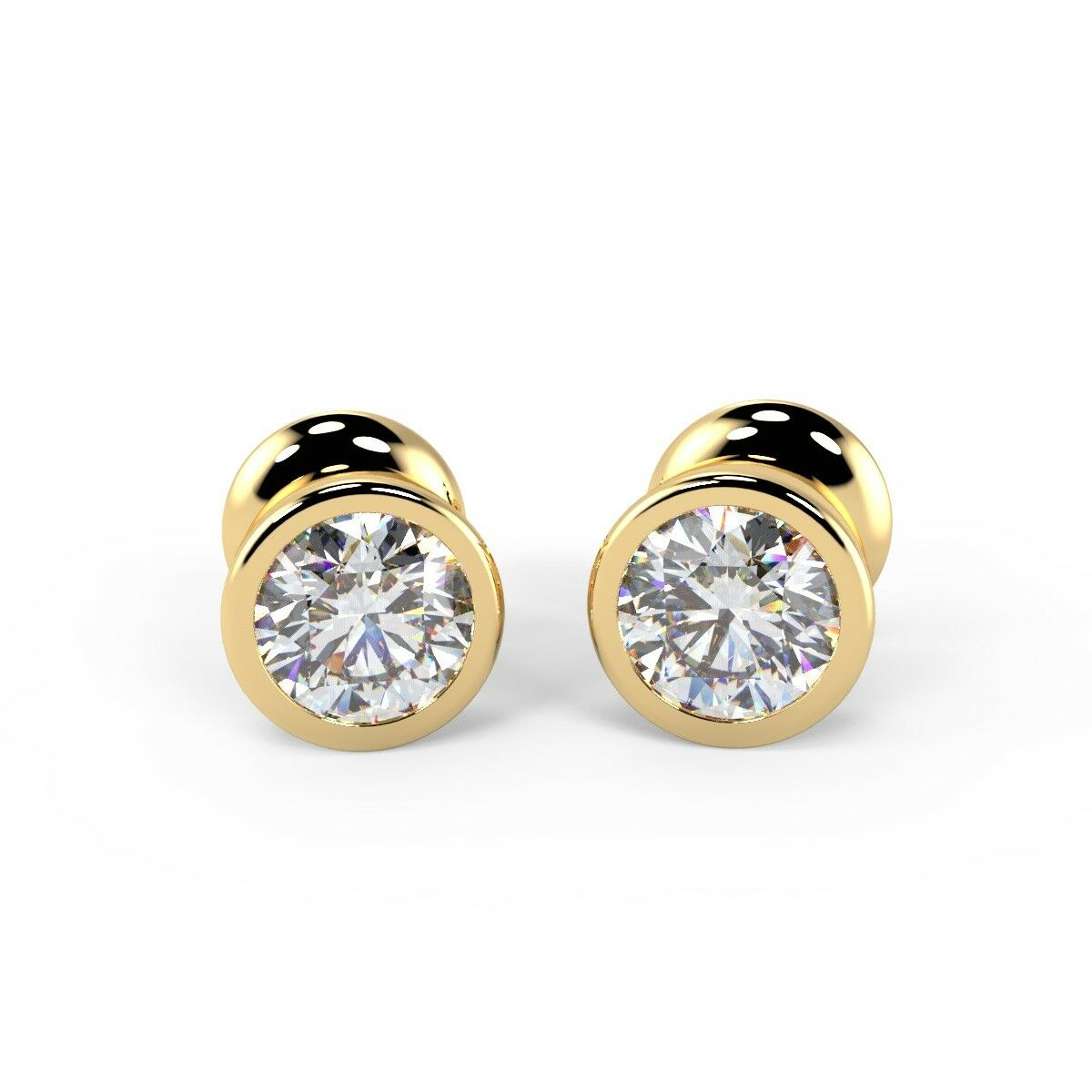 0 25 Ct Round Diamond Bezel Set Stud Earrings Uk Hallmarked