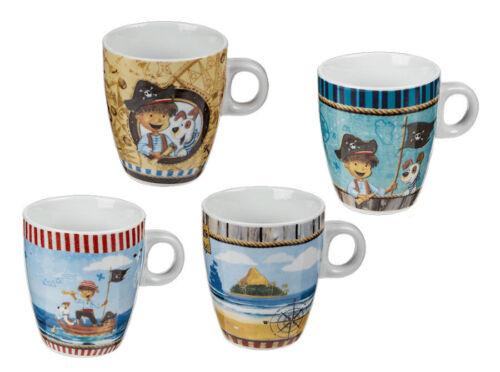 Set 4x Becher Keramik Pirat 8x7cm Kaffee Tee Tasse Kaffeebecher