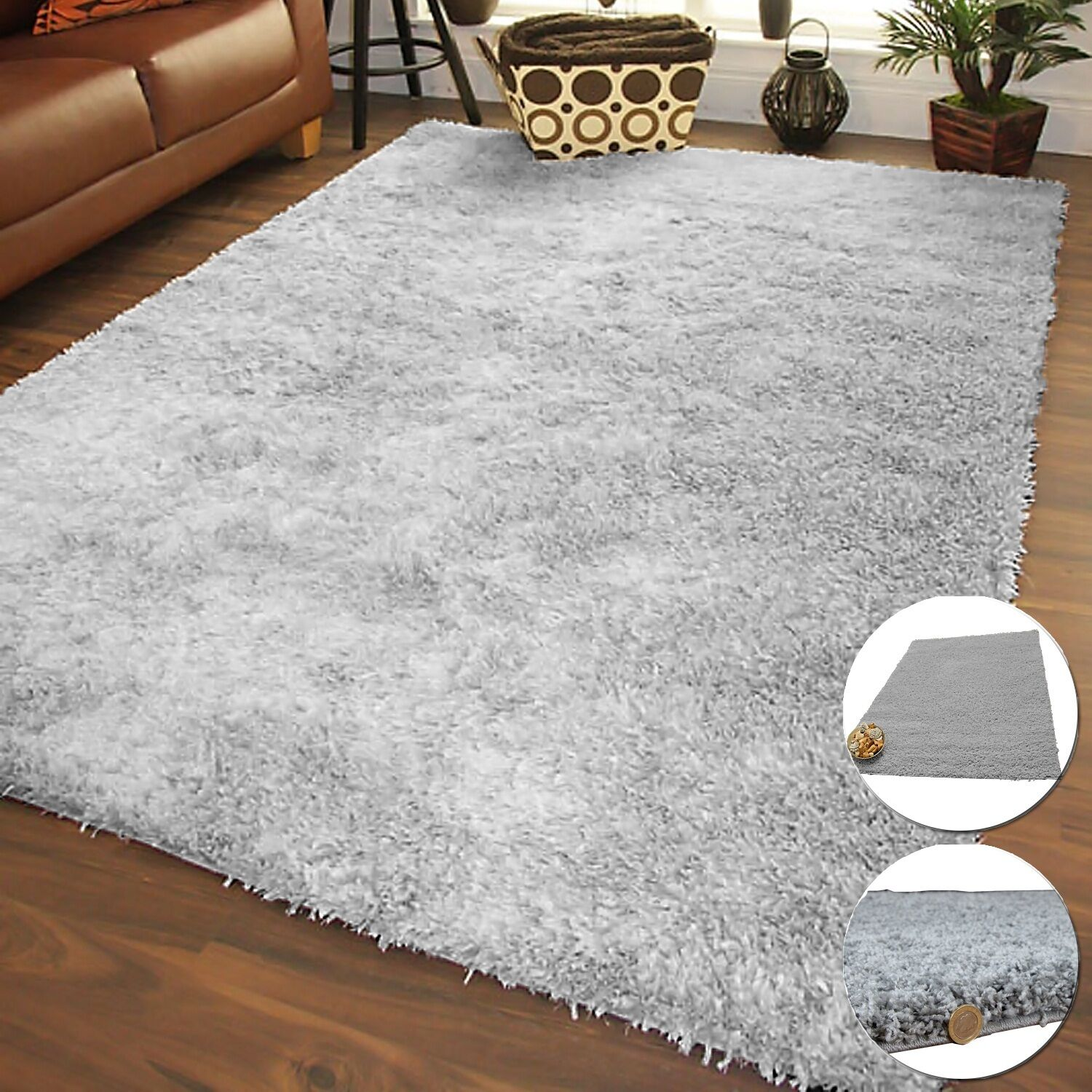 FLUFFY GREY THICK NON SHED SHAGGY AREA RUGS MODERN DINING