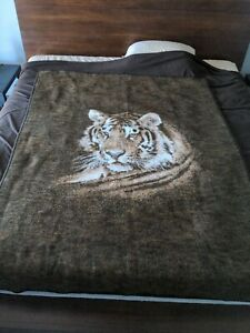 Biederlack-Tiger-Head-Brown-White-Blanket-Acrylic-Throw-Reversible-70-034-x-55-034