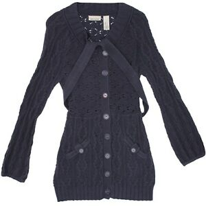 Fylo Nylon Womens Large Black Military Button Style Open Front Cardigan Sweater