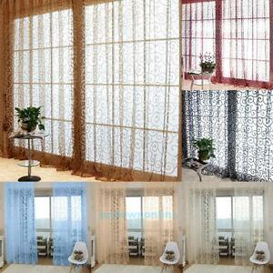 1X2M-Floral-Print-Tulle-Voile-Curtain-Drape-Panel-Sheer-Scarf-Room-Door-Window