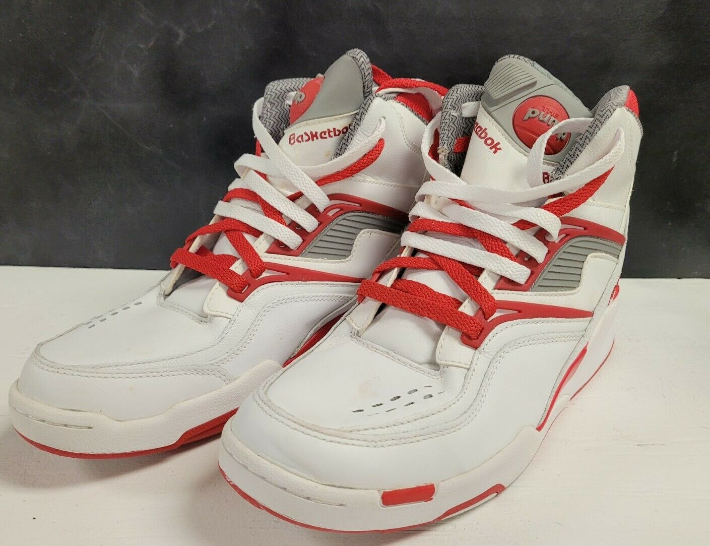 Vintage Men's Reebok Pump Basketball Shoes Size 11 US White and Red on eBay thumbnail