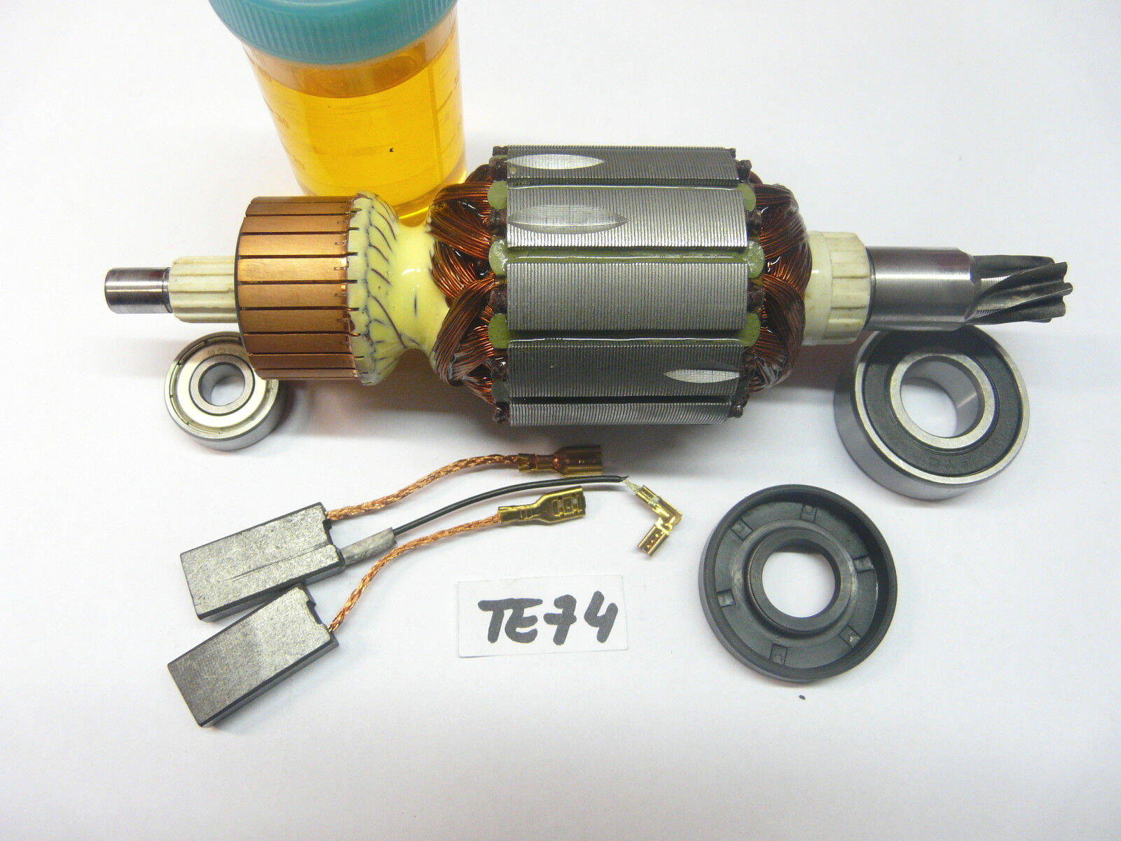 Anker, Rotor für Hilti TE 74 mit beiden Lagern und Wellendichtring, Kohlen