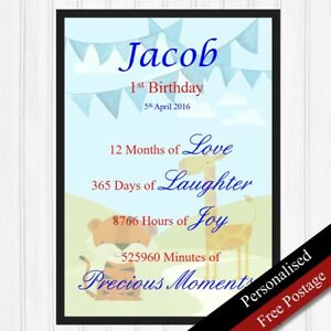 Image Is Loading 1st Birthday Gift Personalised Keepsake For Boys First