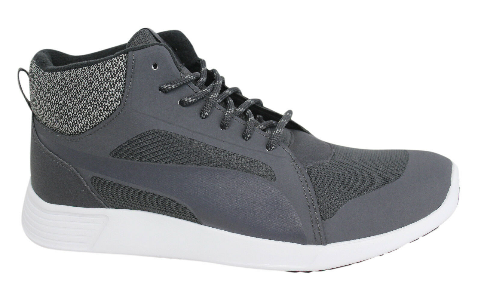 Pima ST Evo Demi Twill Mid Lace Up Grey Textile Mens Trainers 361219 01 M3