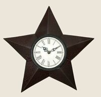 Primitive Country Rustic Black & Red Crackled Metal Barn Star Wall Clock 11