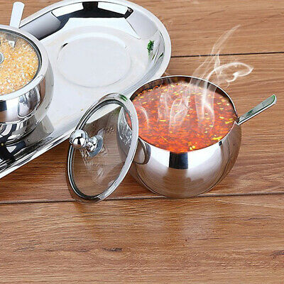 High-end Durable Stainless Steel Sugar Bowl with Lid and Spoon Container E2L6