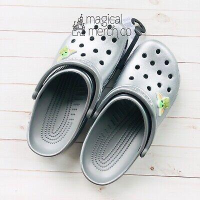 Disney Star Wars Mandalorian Baby Yoda Silver Crocs Adult Size M3 //W5 Shoes New