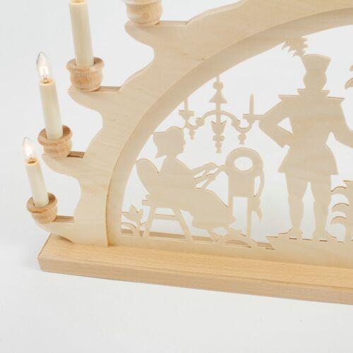 Holz-Schwibbogen Lichterbogen Bergmann Bergmänner 70 cm Made im Erzgebirge Birke