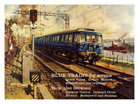 Blue Trains For Service 1960's Travel Poster Print New