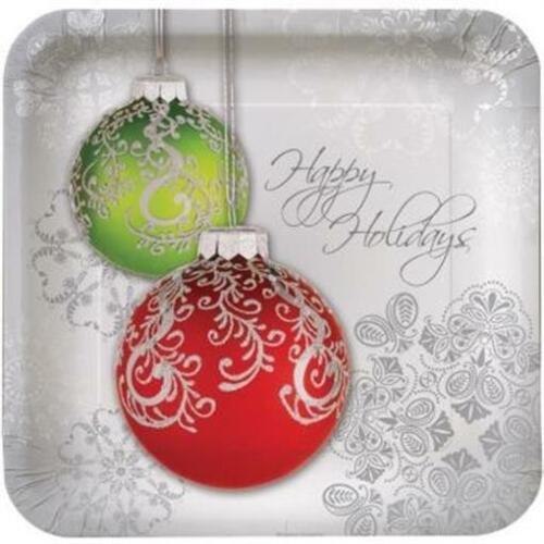 Jingle Bells Deep Dish 9 Inch Paper Plates 8 Pack Christmas Winter Decoration