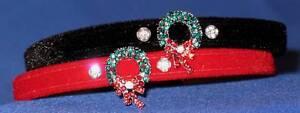 Velvet-Christmas-Dog-Puppy-Collars-with-Crystal-Wreath-Charm-25cm-40cm
