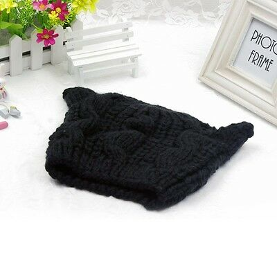 Womens Korean Devil Horns Cat Ear Crochet Braided Knit Ski Beanie Wool Cap Hat J