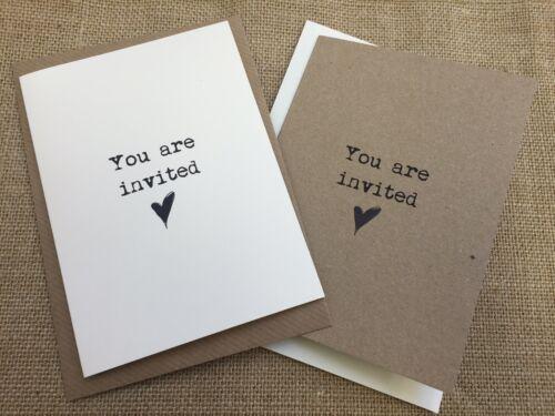 Blank inside Vintage//Rustic//DIY  /'Black Heart/' Wedding Cards /& Envelopes